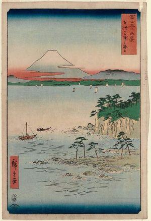 Utagawa Hiroshige: The Sea at Miura in Sagami Province (Sôshû Miura no kaijô), from the series Thirty-six Views of Mount Fuji (Fuji sanjûrokkei) - Museum of Fine Arts