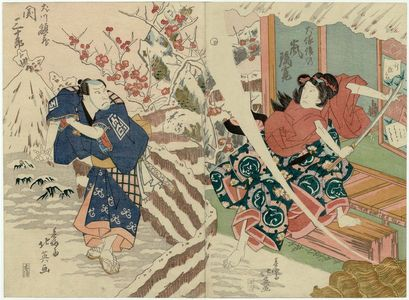 Shunbaisai Hokuei: Actors Arashi Rikan II as Inuzuka Shino (R) and Seki Sanjûrô II as Inukawa Gakuzô (L) - Museum of Fine Arts
