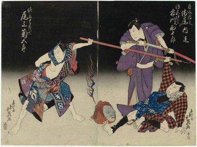Shunbaisai Hokuei: Actors Asao Takumi I as Naosuke Gonbei and Ichikawa Sukejûrô II as Hamiya Iemon (R), and Onoe Kikugorô III as Satô Yomoshichi (L) - ボストン美術館
