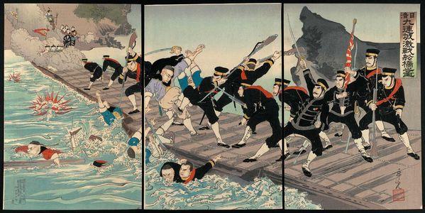 Kobayashi Toshimitsu: Sino-Japanese War: The Fierce Battle on the Pontoon Bridge at Jiuliancheng (Nisshin: Kyûrenjô funabashi gekisen no zu) - ボストン美術館