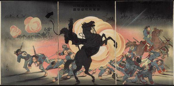 小林清親: Bombarding the Enemy Camp as Our Second Army Lands at Jinzhoucheng (Waga dainigun Kinshû tekiei hôgeki no zu) - ボストン美術館