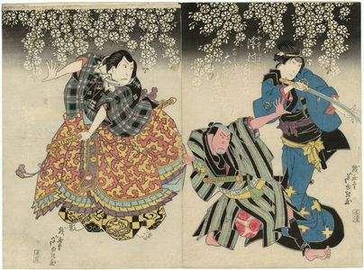 Gigado Ashiyuki: Actors Sawamura Kunitarô II as the Court Lady Sekiya and Ôtani Tomoemon II as Hyakubei (R), and Arashi Kitsusaburô II as Takashima Kuhachi (L) - Museum of Fine Arts