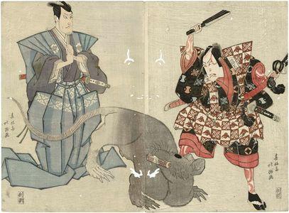 Shunkosai Hokushu: Actors Nakamura Utaemon III as Arajishi Otokonosuke (R) and Matsumoto Kôshirô V as Niki Danjô (L) - Museum of Fine Arts