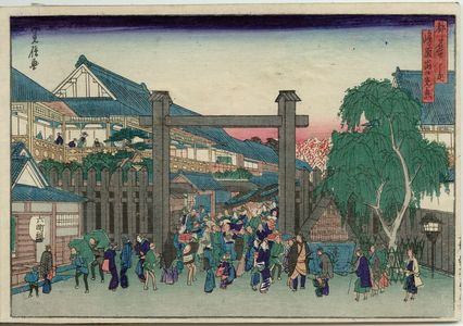 代長谷川貞信: The Gate of the Shimabara (Shimabara deguchi kôkei), from the series Famous Places in the Capital (Miyako meisho no uchi) - ボストン美術館