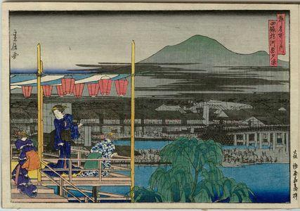 代長谷川貞信: Cooling Off in the Evening on the Riverbed by Shijô Bridge (Shijô-bashi kawara yûsuzumi), from the series Famous Places in the Capital (Miyako meisho no uchi) - ボストン美術館