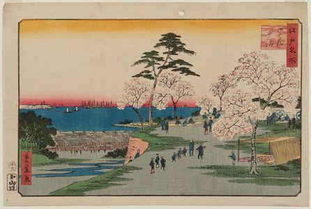 二歌川広重: Goten-yama, from the series Famous Places in Edo (Edo meisho) - ボストン美術館