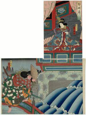 Utagawa Kunikazu: Actors Arashi Rikaku II as Kin Shôjo (R) and Arashi Rikan III as Watônai (L) in the play Kokusenya - Museum of Fine Arts