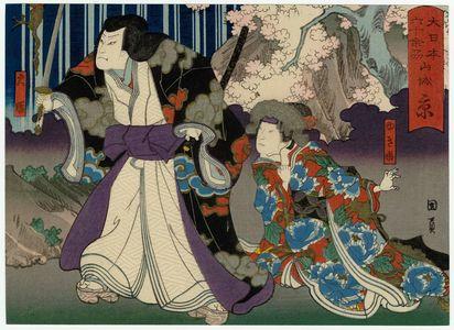 Utagawa Kunikazu: Kyoto, Yamashiro Province: (Bandô Hikosaburô V as) Princess Yuki and (Arashi Kichisaburô III as Daien), from the series The Sixty-odd Provinces of Great Japan (Dai Nippon rokujû yo shû) - Museum of Fine Arts