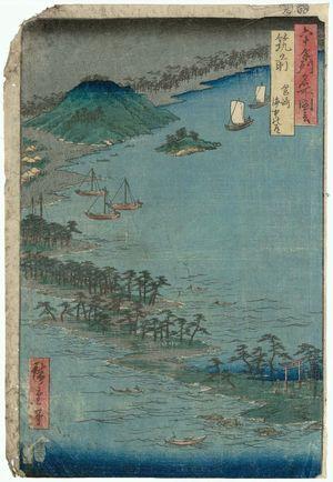 Utagawa Hiroshige: Chikuzen Province: Hakozaki, the Road through the Sea (Chikuzen, Hakozaki, kaichû no michi), from the series Famous Places in the Sixty-odd Provinces [of Japan] ([Dai Nihon] Rokujûyoshû meisho zue) - Museum of Fine Arts