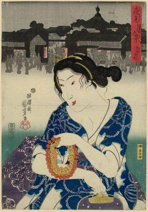歌川国芳: Kayaba-chô, from the series Eight Views of Night Visits to Temples and Shrines (Yomairi hakkei) - ボストン美術館