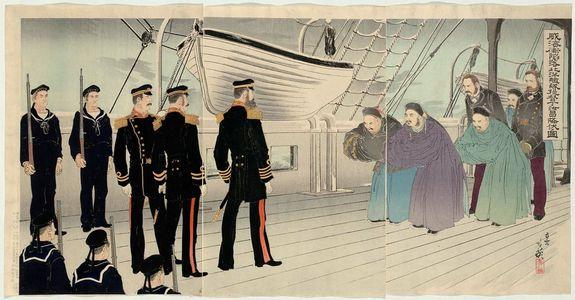 Migita Toshihide: After the Fall of Weihaiwei, the Commander of the Chinese Beiyang Fleet, Admiral Ding Ruchang, Surrenders (Ikaiei kanraku Hokuyô kantai teitoku Tei Joshô kôfuku no zu) - Museum of Fine Arts