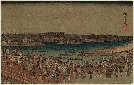 歌川広重: Fireworks at Ryôgoku Bridge (Ryôgokubashi hanabi no zu), from the series Famous Places in the Eastern Capital (Tôto meisho) - ボストン美術館
