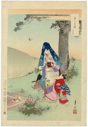 尾形月耕: Young Grasses (Wakakusa), from the series Beauties Matched with Flowers (Bijin hana kurabe) - ボストン美術館