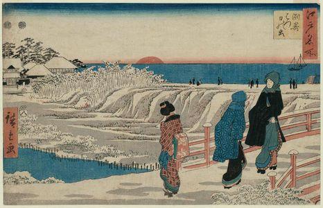 歌川広重: Sunrise on New Year's Day at Susaki (Susaki hatsu hinode), from the series Famous Places in Edo (Edo meisho) - ボストン美術館