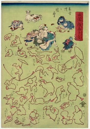 Kawanabe Kyosai: Act V of Chûshingura and others, from the series A Children's Handbook of String Pictures (Kyokumusubi osana tehon) - Museum of Fine Arts