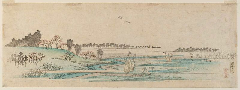 歌川広重: Yûhi-ga-oka, from an untitled series of views of Edo - ボストン美術館