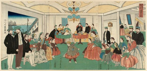 Utagawa Yoshikazu: Foreigners Enjoying Themselves at a Party (Ikokujin shuen yûraku no zu) - Museum of Fine Arts