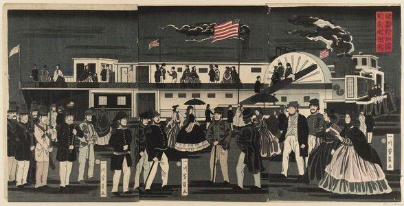 Utagawa Yoshikazu: America: a Steam Train in Motion (Amerika koku jôkisha ôrai) - Museum of Fine Arts