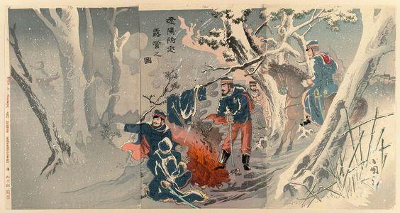 Utagawa Kokunimasa: Bivouac near Liaoyang (Ryôyô fukin roei no zu) - Museum of Fine Arts