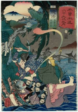 Utagawa Kuniyoshi: Unuma: Yoemon and His Wife Kasane, from the series Sixty-nine Stations of the Kisokaidô Road (Kisokaidô rokujûkyû tsugi no uchi) - Museum of Fine Arts