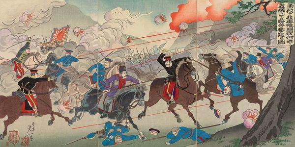 渡辺延一: Our Valorous Military Repulsing the Russian Cossack Cavalry on the Bank of the Yalu River (Yûretsu naru waga gun Ôryokkô kahan ni Rokoku Kozakku kihei o gekitai no zu) - ボストン美術館