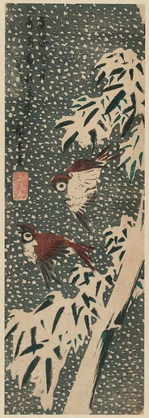 Utagawa Hiroshige: Sparrows and Bamboo in Snow - Museum of Fine Arts