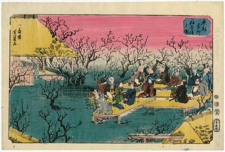 歌川芳員: View of the Plum Garden (Umeyashiki no zu), from the series Famous Places in the Eastern Capital (Tôto meisho) - ボストン美術館