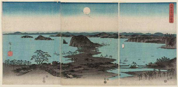 歌川広重: Eight Views of Kanazawa at Night (Buyô Kanazawa hasshô yakei), from an untitled set of three triptychs - ボストン美術館