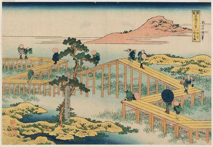 葛飾北斎: Old View of the Eight-part Bridge at Yatsuhashi in Mikawa Province (Mikawa no Yatsuhashi no kozu), from the series Remarkable Views of Bridges in Various Provinces (Shokoku meikyô kiran) - ボストン美術館