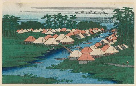 Utagawa Hiroshige: Fragment of: Horie and Nekozane (Horie Nekozane), from the series One Hundred Famous Views of Edo (Meisho Edo hyakkei) - Museum of Fine Arts