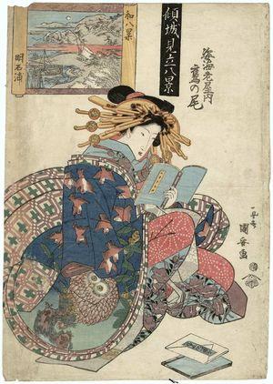 歌川国安: Eight Views of Japan, Akashi Bay (Yamato hakkei, Akashi no ura): Takanoo of the Sugata-Ebiya, from the series Courtesans Compared to Eight Views (Keisei mitate hakkei) - ボストン美術館