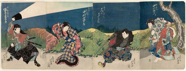 Shunbaisai Hokuei: Actors, from right: Nakamura Utaemon III as Sutewakamaru, Onoe Tamizô II as Miura Hitachi, Nakamura Tomijûrô II as Gion Okaji, and Bandô Jûtarô I as Saitô Kuranosuke - Museum of Fine Arts