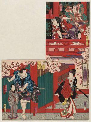 Utagawa Yoshitaki: Actors Nakamura Jakuemon I as Dokuro and Arashi Rikan III as Nozarashi Gosuke (TR), Ichikawa Fudenosuke I as Katsuragi (BR), and Mimasu Daigorô IV as Daiba Nisaburô and Ichikawa Ennosuke as Hanagatamaru (L), in Act 3 of Kuruwa no Kadomatsu - Museum of Fine Arts