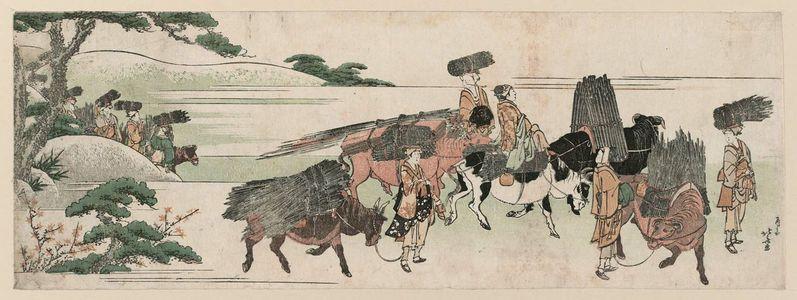 葛飾北斎: Firewood Gatherers Returning from Their Work - ボストン美術館