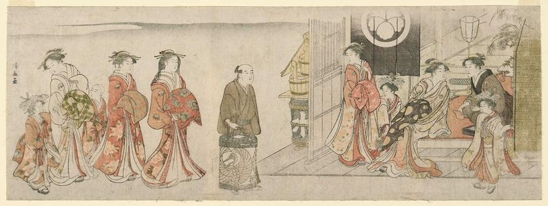 Torii Kiyonaga: The Courtesan Hanaôgi Arriving at a Teahouse - Museum of Fine Arts