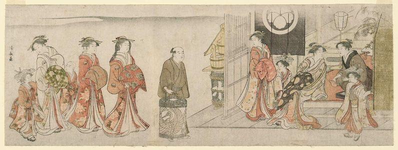 鳥居清長: The Courtesan Hanaôgi Arriving at a Teahouse - ボストン美術館