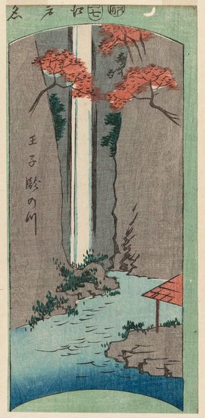 Utagawa Hiroshige: Waterfall River at Ôji (Ôji Taki-no-kawa), from the series Cutout Pictures of Famous Places in Edo (Edo meisho harimaze zue) - Museum of Fine Arts