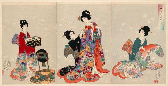 Toyohara Chikanobu: Changing Clothes (Omeshikae), from the series Chiyoda Inner Palace (Chiyoda no Ôoku) - Museum of Fine Arts