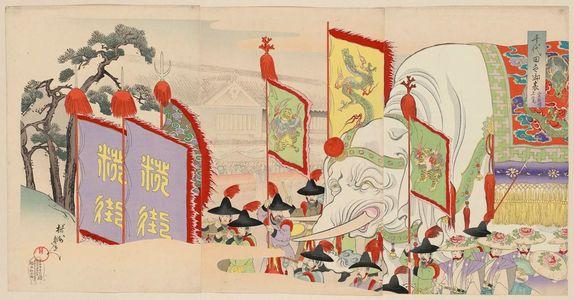 豊原周延: Viewing the Sannô Festival (Sannô sairei jôran), from the series Chiyoda Outer Palace (Chiyoda no on-omote) - ボストン美術館