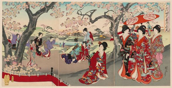 Toyohara Chikanobu: Cherry-blossom Viewing (On-hanami), from the series Chiyoda Inner Palace (Chiyoda no Ôoku) - Museum of Fine Arts
