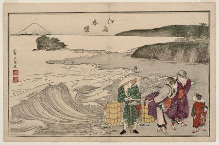 Katsushika Hokusai: Spring at Enoshima (Enoshima shunbô), from the album The Threads of the WIllow (Yanagi no ito) - Museum of Fine Arts