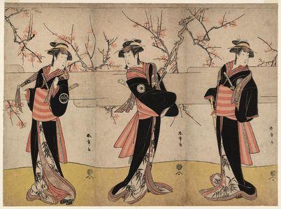 Katsukawa Shunsho: Actors Nakayama Tomisaburô I as An no Oyasu (R), Iwai Kiyotarô II as Kaminari no Osha (C), Nakayama Tatezô I as Gokuin no Osen (L), Three of Five Gonin Onna - Museum of Fine Arts