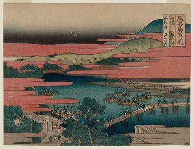 Katsushika Hokusai: Moon at Shijô in Yamashiro Province (Yamashiro Shijô no tsuki), from the series Snow, Moon, and Flowers at Famous Scenic Spots (Shôkei setsugekka) - Museum of Fine Arts