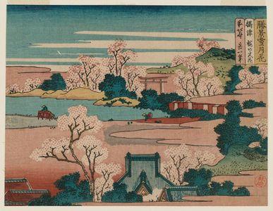 葛飾北斎: Flowers at the Cherry Blossom Shrine in Settsu Province (Settsu Sakura no miya hana), from the series Snow, Moon, and Flowers at Famous Scenic Spots (Shôkei settsugekka) - ボストン美術館