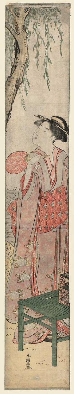 勝川春潮: Woman in Summer Clothing under a Willow Tree by a Stream - ボストン美術館
