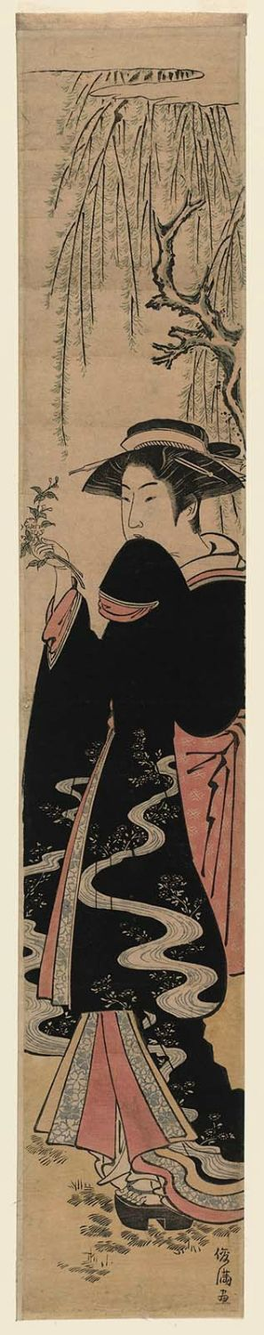 Kubo Shunman: Young Woman under Willow Tree Holding Spray of Flowers - Museum of Fine Arts