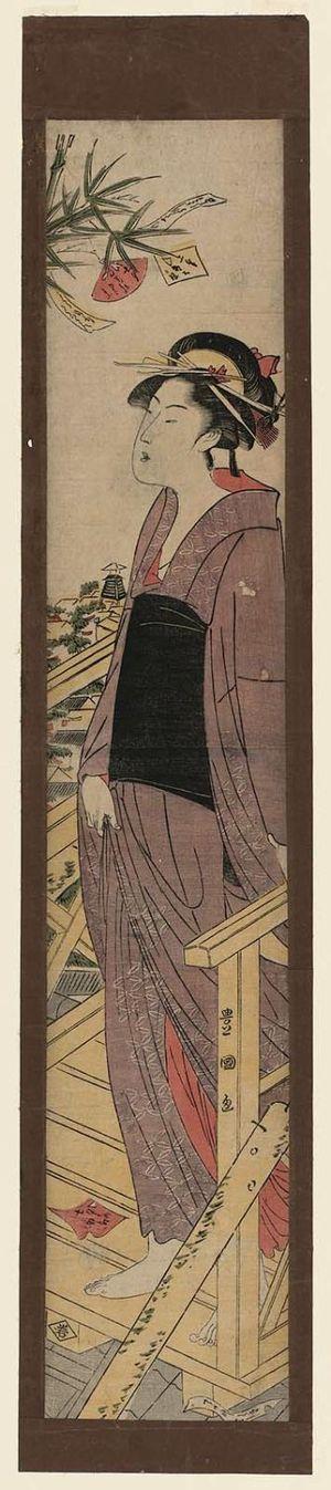 歌川豊国: Woman on Rooftop Platform Admiring Tanabata Festival Decorations - ボストン美術館