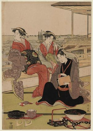 Utagawa Toyokuni I: On a Balcony Overlooking the Bay at Shinagawa - Museum of Fine Arts