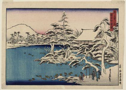 代長谷川貞信: Snowy Dawn at Ryôan-ji Temple (Ryôan-ji yuki [no] akebono), from the series Famous Places in the Capital (Miyako meisho no uchi) - ボストン美術館