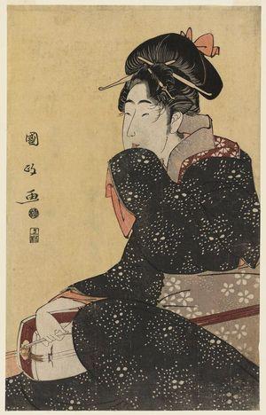 歌川国政: Woman with a Shamisen - ボストン美術館